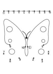 бабочка раскраска точки по цифрам