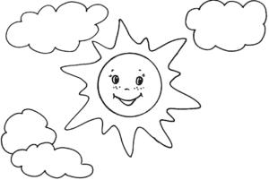 раскраска детская солнышко