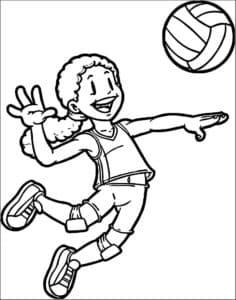 Девочка играет в волейбол