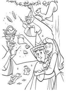 Спящая красавица обнимает фею