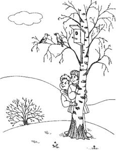 дети возле березы