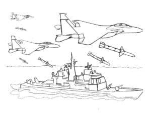 Истребители бомбят корабль