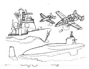 Истребители, корабль и подводная лодка