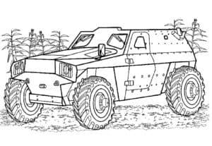 Раскраска небольшая военная машина