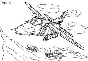 Военный истребитель МИГ-27 раскраска