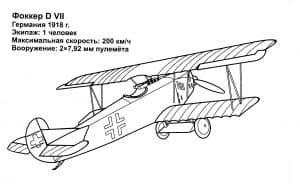 Самолет Фоккер раскраска