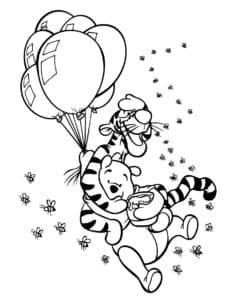 тигр и винни пух на воздушных шарах