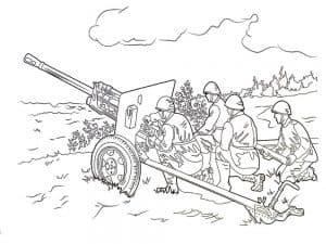 Солдаты за пушкой