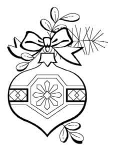 раскраска шар для ёлки с бантиком