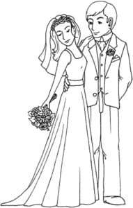 невеста с букетом и жених раскраска