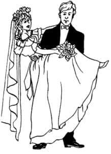 жених держит на руках невесту
