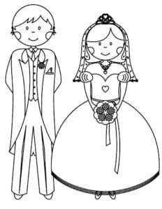 жених с невестой раскраска для ребенка