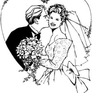 жених целует невесту раскраска