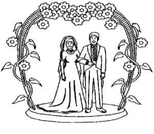 жених и невеста под венцом