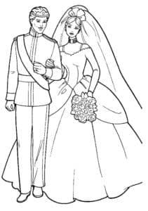 Жених и невеста в пышном платье раскраска