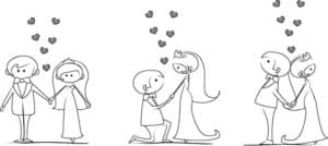 трафарет жених и невеста