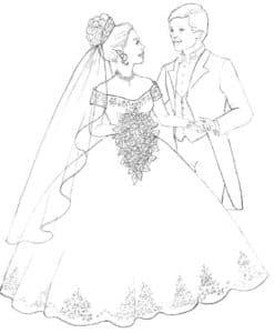 Жених держит невесту за руку раскраска детская