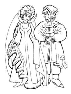 принц с принцессой раскраска детская