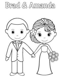 жених и невеста раскраска детская