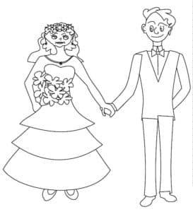 жених держит невесту за руку раскраска