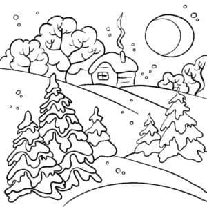 елки дом и месяц