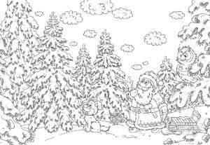 зимний лес и дед мороз антистресс