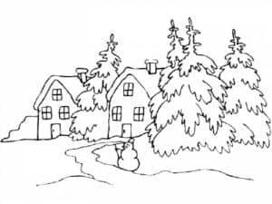 елки и дома раскраска детская
