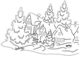 домики и елки раскраска для детей