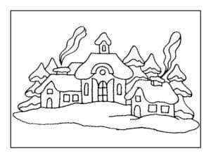 дым из домов зимой