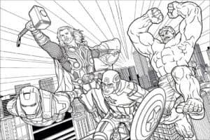 Железный человек, Тор, Капитан Америка и Халк восстали против злодеев