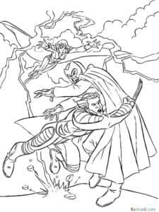 Росомаха в момент битвы