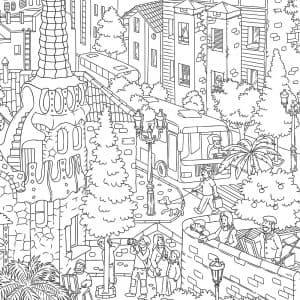 Раскраска город Барселона