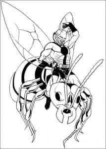 Человек муравей летит на пчеле раскраска