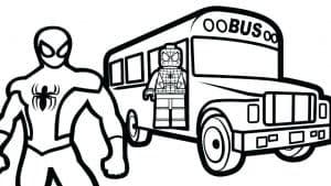Человек паук лего и автобус раскраска
