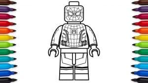 Человек паук лего раскраска с фломастерами