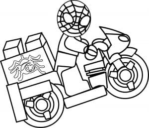 Человек паук на мотоцикле раскраска