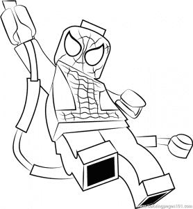 Человек паук лего на веревке