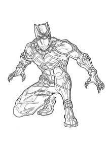Супергерой черная пантера на корточках