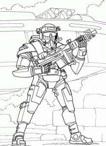 Воин с автоматом раскраска детская