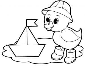 Утенок и кораблик из бумаги