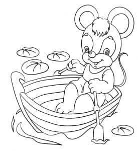 Мышка в лодке раскраска