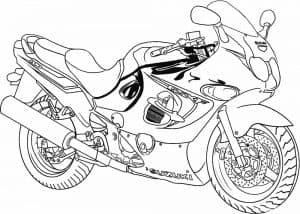 Гоночный мотоцикл раскраска