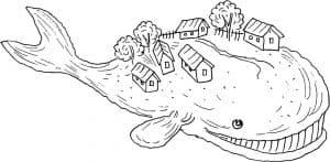 Кит с домами на спине