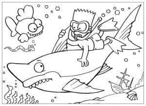 Водолаз и акула раскраска