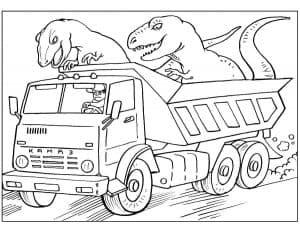 Большой грузовик с динозаврами