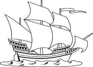 Большой корабль с парусами