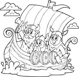 Викинги на лодке