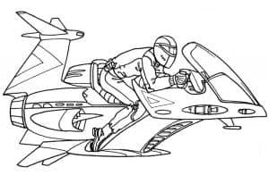 Человек на летающем мотоцикле