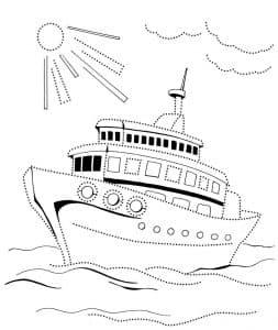 Большой корабль и солнце
