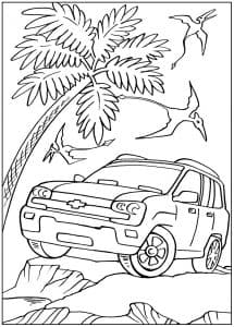 Джип возле пальмы